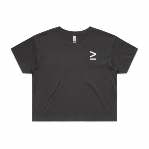 Coal greater than crop tee front